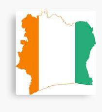 Flag Map of Côte d'Ivoire Metal Print