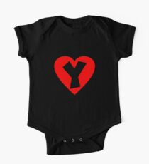 I love Y- Heart Y - Heart with letter Y One Piece - Short Sleeve