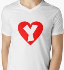 I love Y- Heart Y - Heart with letter Y Men's V-Neck T-Shirt