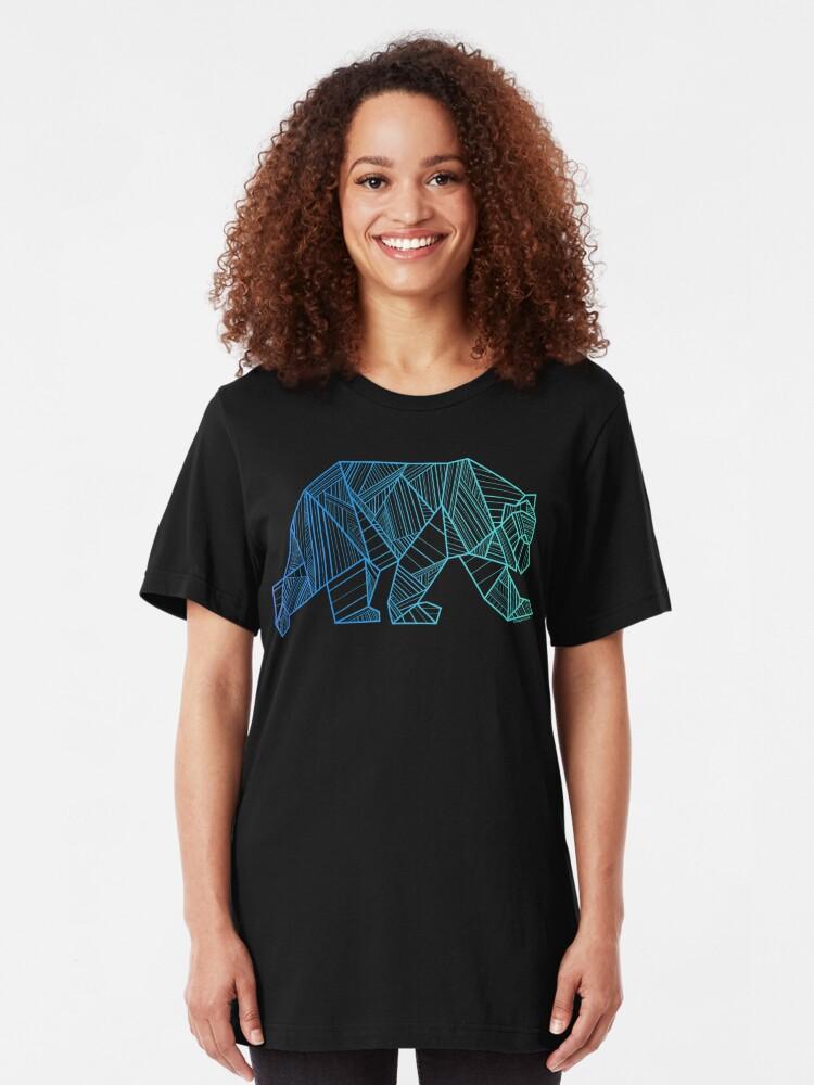 Alternative Ansicht von Geometrisches Bärn-T-Shirt - geometrisches Bärn-Hemd - kampierendes und wanderndes Hemd - Gebirgst-shirt - Wildnis draußen Hemd Slim Fit T-Shirt