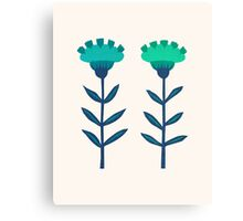Folk Flowers Botanical - Blue Canvas Print