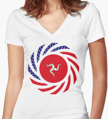 Manx American Multinational Patriot Flag Series Fitted V-Neck T-Shirt