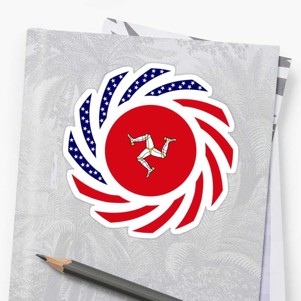 Manx American Multinational Patriot Flag Series Sticker