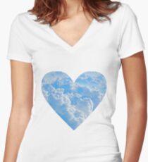 Sky Heart Women's Fitted V-Neck T-Shirt