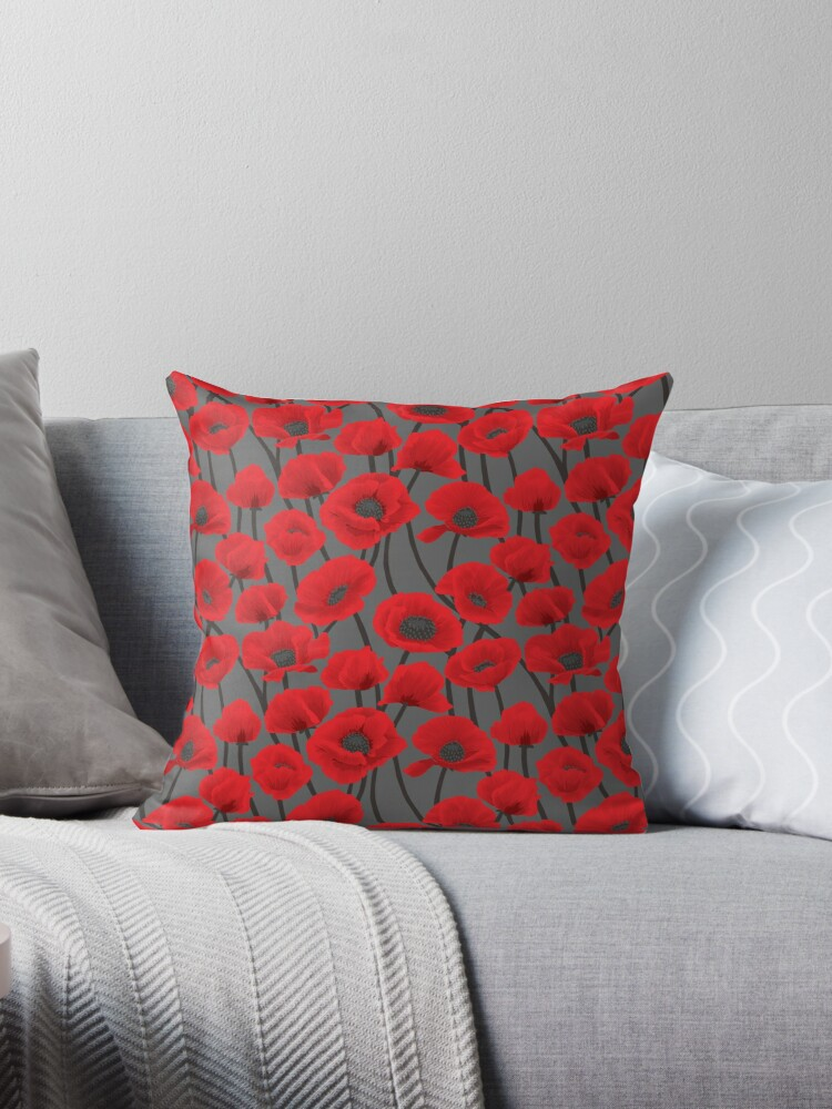 coquelicot throw pillows by mamangaba redbubble
