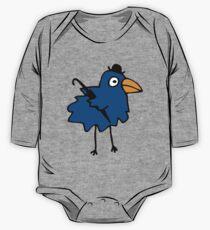 Business Bird - Blue - cute bird pattern by Cecca Designs One Piece - Long Sleeve