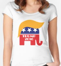Trump 2016 GOP Elephant Hair ©TrumpCentral.org Women's Fitted Scoop T-Shirt