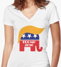 Trump 2016 GOP Elephant Hair ©TrumpCentral.org Women's Fitted V-Neck T-Shirt