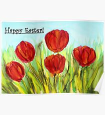 Easter Greetings - Red Tulips Poster