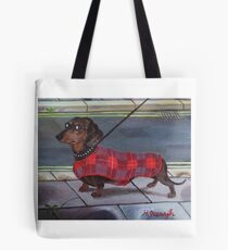 Dachshund going for a walk. Tote Bag