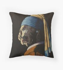 WEIMARANER WITH PEARL EARRING Throw Pillow