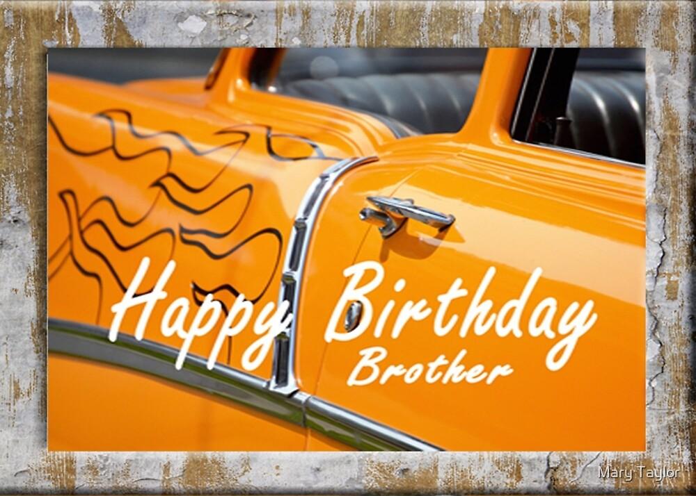 Joyeux Anniversaire Brother Hot Rod Orange Car Vintage Par Mary
