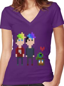 Pixel Jack, Mark and Friends Women's Fitted V-Neck T-Shirt