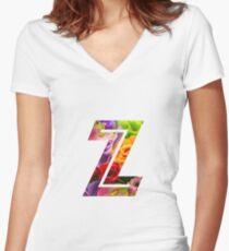 The Letter Z - Flowers Women's Fitted V-Neck T-Shirt
