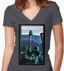 Lighthouse Mountain Women's Fitted V-Neck T-Shirt