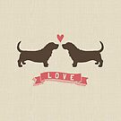 Basset Hounds in Love by Jenn Inashvili