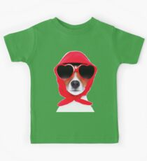 Dog Wearing Heart Red Glasses & Red Veil Kids Clothes