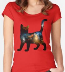 CELESTIAL CAT 3 Women's Fitted Scoop T-Shirt
