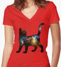 CELESTIAL CAT 3 Women's Fitted V-Neck T-Shirt