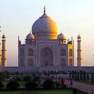 The Taj Mahal catches the sun at sunrise by John Dalkin