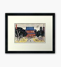 Kinryusan Temple Asakusa - Hiroshige Ando - 1837 - woodcut Framed Print