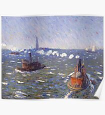 William Glackens - Breezy Day, Tugboats, New York Harbor  Poster
