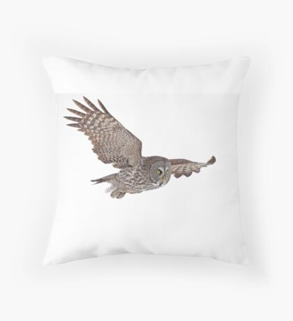 In Flight - Great Grey Owl Throw Pillow