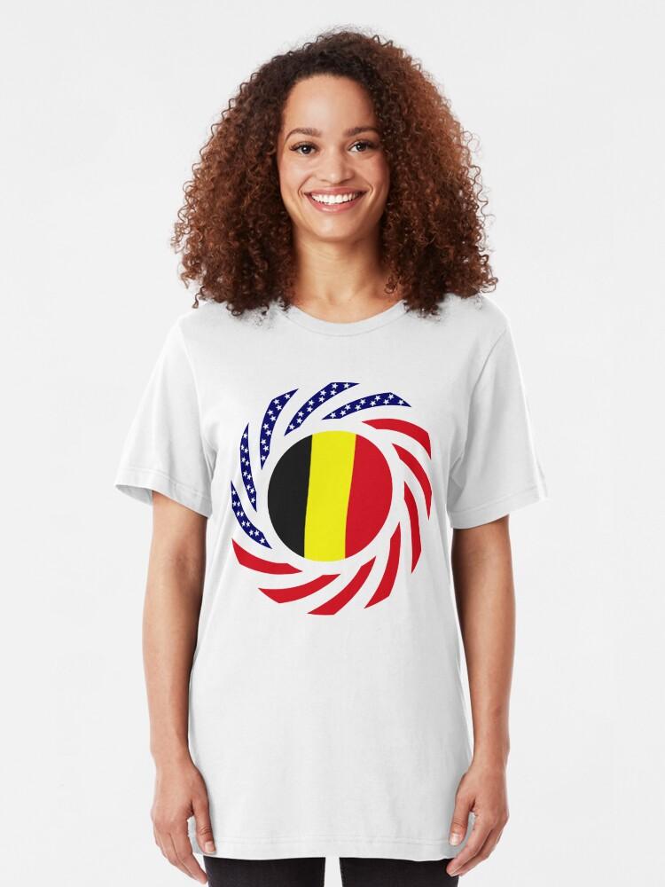 Alternate view of Belgian American Multinational Patriot Flag Series Slim Fit T-Shirt