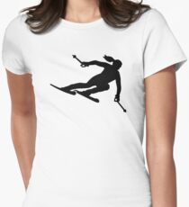 Skiing woman Women's Fitted T-Shirt