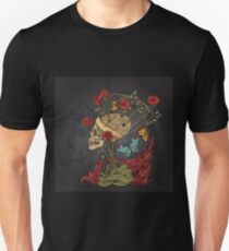 illustration with skull, bush of roses, snake and and flame. grey background T-Shirt