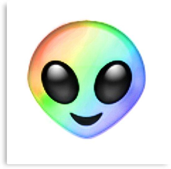 Rainbow Alien Emoji Canvas Print By Ladyboner69 Redbubble