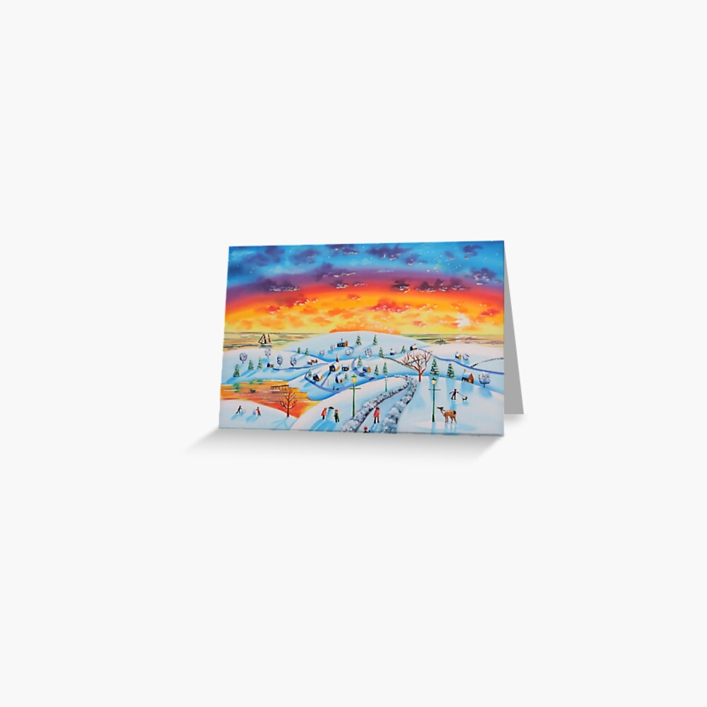 Winter town oil on canvas folk art Greeting Card