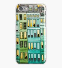 Cats in Green Townhouses iPhone Case/Skin