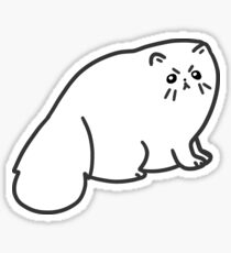 Angry Fluffy White Cat Sticker
