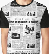 The Moon Landing Newspaper Article Graphic T-Shirt