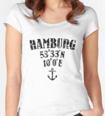 Hamburg Koordinaten Vintage Schwarz Women's Fitted Scoop T-Shirt