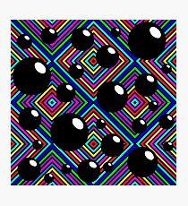 Black shiny balls and colored diamonds. Photographic Print