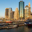 Early Morning Harbor - Lower Manhattan Skyline and South Street Seaport Historic Ships by Georgia Mizuleva