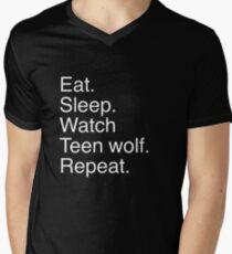 Eat.sleep.watch teen wolf.repeat. Men's V-Neck T-Shirt