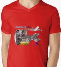 Airbus A 380 GP7000 Engine Men's V-Neck T-Shirt