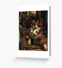 Eugène Delacroix - A Vase of Flowers on a Console Greeting Card
