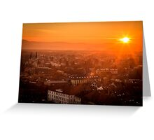 sunset on the city of Ljubljana Greeting Card