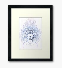 Graphic man in virtual reality glasses Framed Print