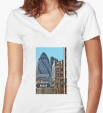 City toilet? Women's Fitted V-Neck T-Shirt