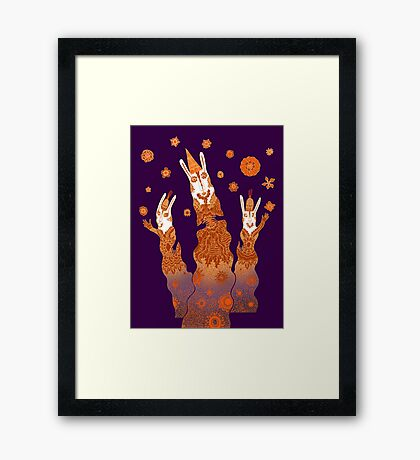 Psychedelic Rabbit Wizards  Framed Print