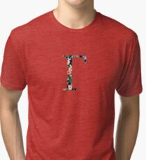 Gamma Floral Geek Letter Tri-blend T-Shirt