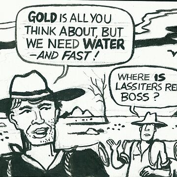 Comic strip artwork of prospectors in Aussie outback by MrCreator