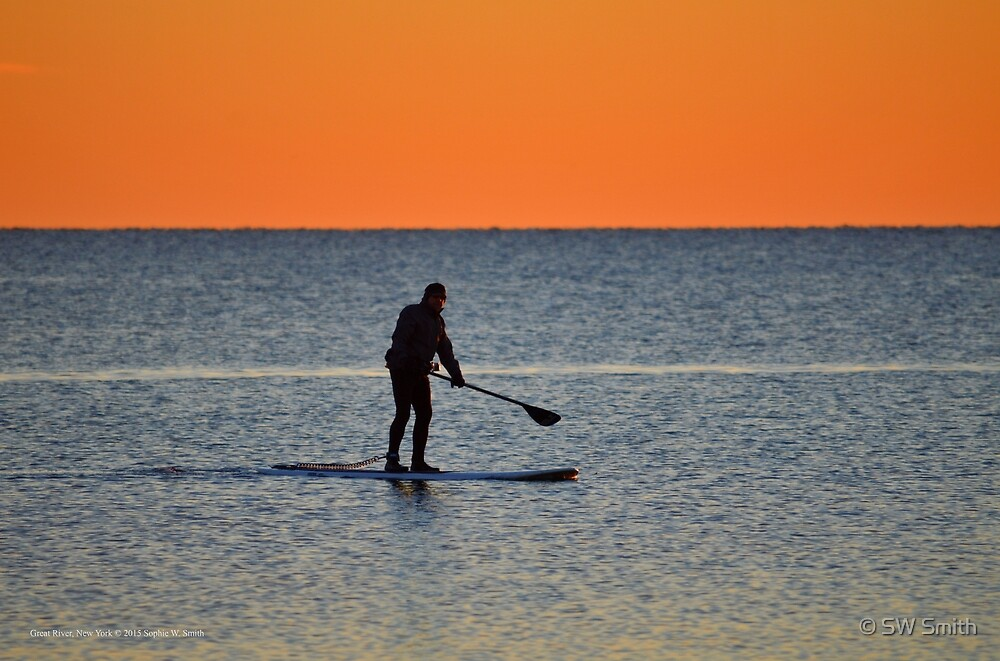 Standup Paddleboarding Across Nicoll Bay At Dawn | Great River, New York by © Sophie W. Smith