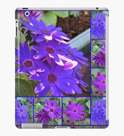 Cinerarias Dreaming - Blumencollage in Lila und Blau iPad-Hülle & Klebefolie