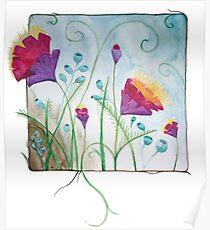 Framed fantasy flowers Poster